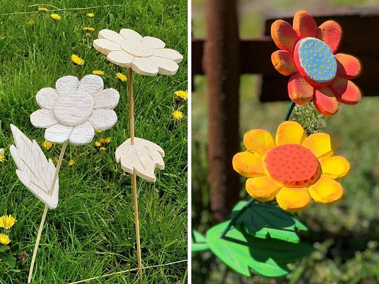 Geschenkidee für den Muttertag: Holzblumen zum Bemalen